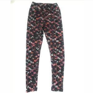 LulaRoe Soft Tween Floral leggings gray black pink